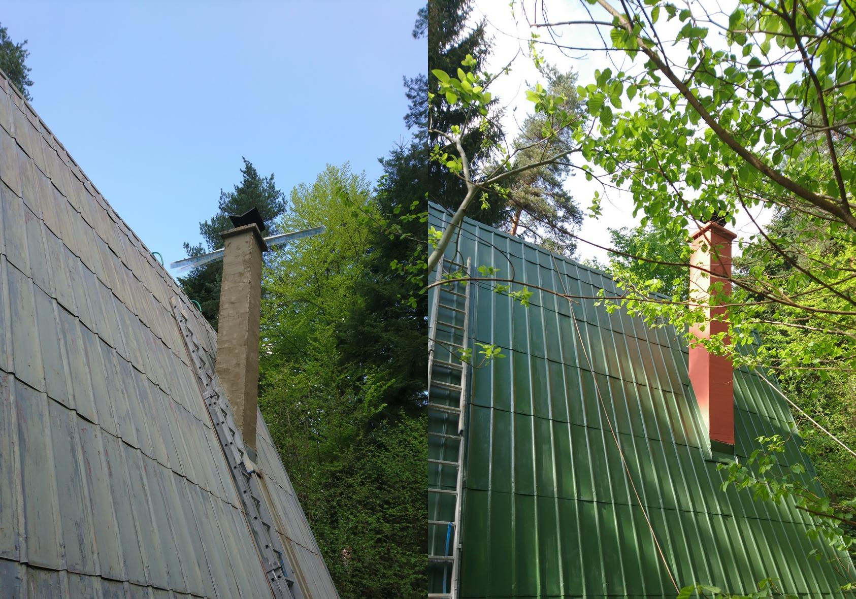 Náter strechy a oprava komína | výškové práce