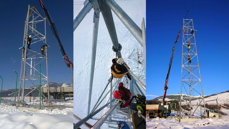 montáž telekomunikačného stožiara | výškové práce